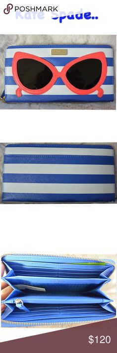 Make A Splash Wallet Make a splash neda zip around wallet, in blue an white stripe, holds 13 credit cards, measures 8'L x 4' x 1' D , with sunglass on the front...still in original packaging ...... kate spade Bags Clutches & Wristlets