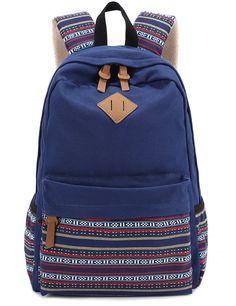 Amazon.com: Hmxpls Unisex Fashionable Canvas Zip Bohemia Boho Style Backpack School College Laptop Bag for Teens Girls Boys Students, Blue: Computers & Accessories