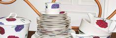 Arabia Illusia tableware, with purple poppies Purple Poppies, Tableware, Dinnerware, Dishes, Porcelain Ceramics
