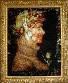 Ornate gold frames look good with old-fashioned art -- Summer - Giuseppe Arcimboldo, by Scarlet Quince.