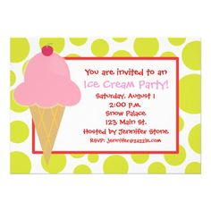 Polka Dot Pink Ice Cream Cone Invitations in lime green, red and pink. Cute for a summer party, picnic or birthday party. www.gem-ann.com (Zazzle store)