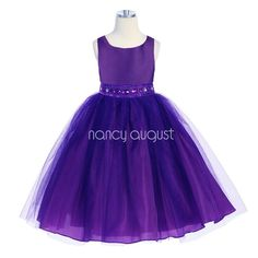 #Purple Flower Girl Dress with Rhinestone And Tulle Skirt: This gorgeous purple rhinestone flower girl dress features a taffeta bodice and tulle skirt with additional netting underneath for a full volume #ballerina skirt look. The waistline is embellished with elegant purple rhinestone jewels, delicate beading, and sequin. Your little girl will be the belle of the day in this rare purple flower girl dress. Whether she is a flower girl or simply attending a #special event.