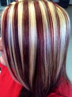 9 Timeless Black Red and Blonde Hairstyles to Rock 2019 hair color ideas red black and blonde - Hair Color Ideas Chunky Blonde Highlights, Red To Blonde, Hair Color Highlights, Blonde Color, Burgundy Hair With Highlights, Color Red, Orange Ombre Hair, Hair Streaks, Different Hair Colors