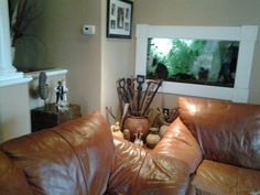 Framed fish tank in the wall
