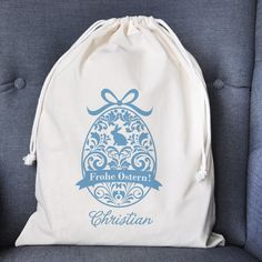 Geschenkbeutel   Sack für Ostergeschenke mit Name und verziertem Ornament-Ei   geschenke-online.de