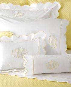 linens - pillow cases - scalloped edges - bedding - monogrammed - bedroom - interiors - design
