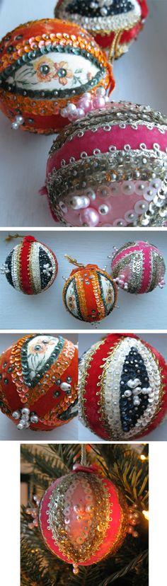 Sequin & Ribbon Ornaments