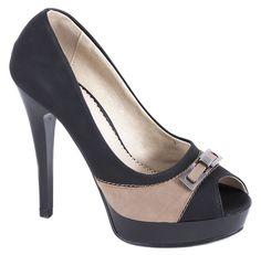 Pantofi cu platforma - Pantofi dama negri cu platforma L-101N - Reducere 50% - Zibra