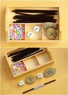Simple Addition Activities using Beads - Find engaging hands-on activities for learning each Sunday night on An Everyday Story