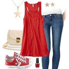 Cute Red Tank Top & Jeans Outfit with Converse All Stars
