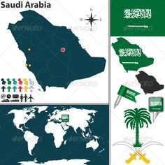 Buy Map of Saudi Arabia by on GraphicRiver. Vector map of Saudi Arabia with regions, coat of arms and location on world map.