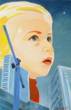 """""""Gerda non lo ascoltava e continuava a stringerlo a sé piangendo dalla gioia. E mentre piangeva, le sue lacrime calde caddero negli occhi di Kai... e sciolsero il ghiaccio del suo cuore.""""    La regina delle nevi  50 x 70 .cm  Tecnica mista su cartra  2012"""