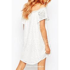 Sweet Off The Shoulder Short Sleeve Lace Dress For Women