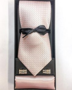Our soft subtle baby pink & ivory Italian silk check Pinoti tie. Matched with one of our high sheen satin baby pink handkerchief. Along with one of our latest designed mother of pearl cufflinks. Keeping it classy & professional.  You can mix and match with whatever you like…