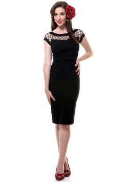 Alika Pencil. £110. The best selling Alika is now available in a pencil skirt. Inspired by the golden age of couture and the 1950's silver screen stars Elizabeth Taylor and Sophia Loren. Irresistible netting detail in the neck area, a bow to highlight your waist and pencil skirt for the perfect 'sweater girl' silhouette. Comes in red, black, green and navy. Available in sizes 6-20 from www.tatyanna.co.uk