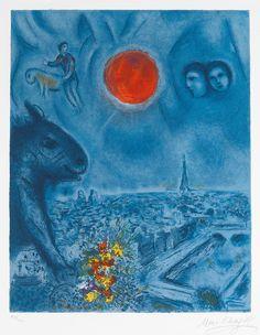 Signed Marc Chagall Lithograph, Le soleil de Paris   available on masterworksfineart.com