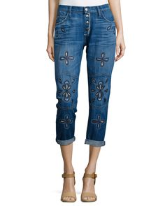 The Fling Cropped Jeans W/Embroidery, Blue, Size: 26 - Current/Elliott
