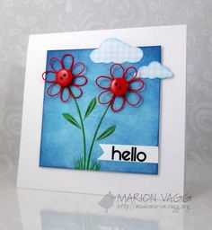 Twine flowers, distressed background, stamped clouds