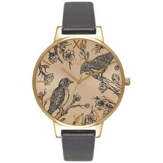 Olivia Burton Animal Motif Birds In Love Sunray Watch - Black & Gold ($105) ❤ liked on Polyvore featuring jewelry, watches, gold jewellery, quartz movement watches, gold watches, gold strap watches and gold wrist watch