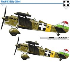 Hungarian Fiat CR.32bis Chirri Military Diorama, Military Art, Fighting Plane, Defence Force, Fighter Pilot, Ww2 Aircraft, Axis Powers, Luftwaffe, Colour Schemes