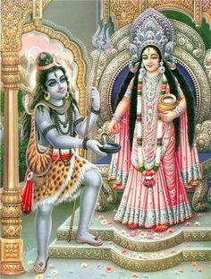 Annapurna Giving Alms to Lord Shiva - Hindu Posters (Reprint on Paper - Unframed) Shiva Parvati Images, Durga Images, Mahakal Shiva, Shiva Art, Hindu Art, Hanuman Images, Ganesh Images, Krishna Art, Indian Goddess