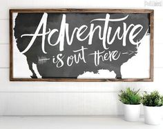 Adventure Is Out There | FREE SHIPPING | Farmhouse Wood Sign | Shabby Chic Decor | 47x23 The Best of home decor in 2017.