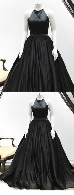 A Line High Neck Black Satin Cheap Prom Dresses Evening Dress Party Gowns LD957 #promdresses #blackpromdresses #promgowns #laurashop #halterpromdresses