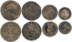 Monedas de la época de George III, Maundy Set, 1798.