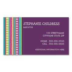 Colorful Stripes Babysitting Business Card. Make your own business card with this great design. All you need is to add your info to this template. Click the image to try it out!