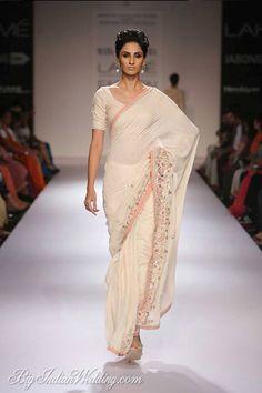 Soumitra Mondal designer white saree