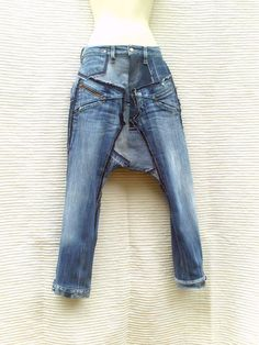 Harem pants with short crotch in patchwork of recycled dark blue jeans (CUSTOM-MADE REALIZATION)