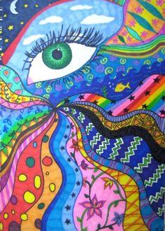 eye know---lost in a doodle Yoga Studio Design, Trippy Drawings, Trippy Painting, Mandala, Psy Art, Hippie Art, Hippie Drawing, School Art Projects, Middle School Art