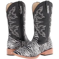 Roper Zebra Glitter Boot Square Toe (Black) Cowboy Boots ($82) ❤ liked on Polyvore featuring shoes, boots, mid-calf boots, western style boots, western cowboy boots, sparkly cowgirl boots, vegan cowboy boots and black square toe boots
