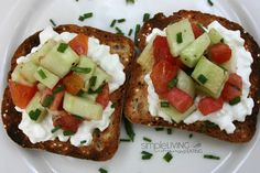 Dieter's Tartine: Tomato Cucumber Salad over Cottage Cheese. The seasoning makes you not realize that this is low cal.