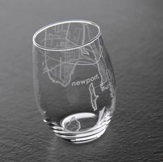 Etched Newport Map Wine Glass - Gifts your Bridal Party Actually wants on The Newport Bride