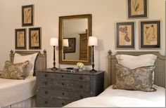 twin beds - great check upholstered headboards