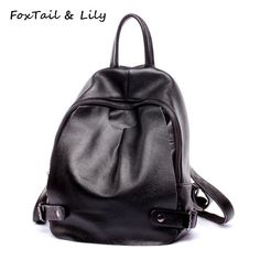 New Women Genuine Leather Backpack Leisure Ladies Cow Leather Black Daily Backpack  Female Causal Cowhide School Bags 94ce187ed4bf