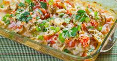 Cheesy Chicken, Tomato, And Mushroom Casserole – Cooking Panda Food Dishes, Main Dishes, Pasta Dishes, Mushroom Casserole, Cheesy Chicken, Salsa Chicken, Baked Chicken Recipes, Stuffed Mushrooms, Canned Mushrooms