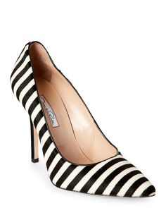 Oscar De La Renta Black Stacy Striped Calf Hair Pointed Toe Pumps