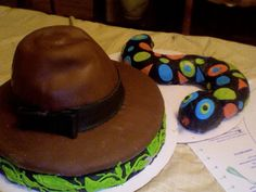 Indiana Jones Hat and Snake Cake.