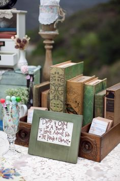 The pages have been turned at Emily and Matt's outdoor wedding in La Jolla, California. These two book worms wanted to share their mutual love of literature through their elegant outdoor wedding! From the library escort cards, to the unique book themed de Library Wedding, Wedding Guest Book, Our Wedding, Wedding Card, Summer Wedding, Dream Wedding, Library Themes, Book Themes, Library Cards