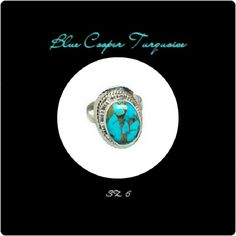 ⚡TEMP  SLASH⚡ BLUE COPPER TURQUOISE RING **NEW** BLUE COPPER TURQUOISE RING METAL.               925 STERLING SILVER STONE SZ.         19 mm X 14 mm RING SZ.              6 WT.                         5 gm Beautiful  Handcrafted Blue Copper Turquoise Ring Size 6 Necklace not included unless you bundle it Jewelry Rings