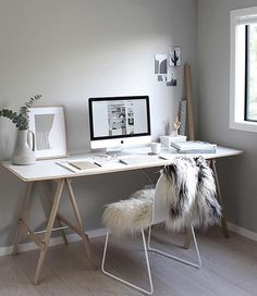 Scandi style #workspacegoals + regram from @thedesignchaser in New Zealand Michelle has recently refreshed her workspace + this is the stunning result ☝️☝☝ The trestle desk is the same but the wall colour + chair are sparkling new✨ We love the neutral tones + simple styling Thanks Michelle for inspiring us (for a long time now!) with your workspace design + incredible blog ️