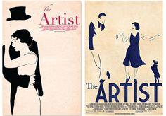 Illustrated movie poster design concepts for The Artist by FIDM Graphic Design Grad Marissa Medrano.