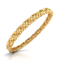 Nature inspired flower design of Gold Bangle, This design represent the calmness in you Crafted in Yellow Gold for your tastes and demands. Gold Bangles For Women, Gold Bangles Design, Gold Jewellery Design, Silver Bracelets, Gold Jewelry, India Jewelry, Silver Rings, Jewelry Design Earrings, Gold Earrings Designs