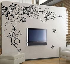Black Vine Flower Rattan Butterfly Removable Vinyl Wall Decal Stickers ...