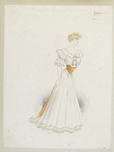 Summer Simple white evening dress with orange corselette and sash and pale green bands at hem. Designed by Jeanne Paquin, Paris. Afternoon Dresses, Evening Dresses, Fashion Art, Vintage Fashion, Fashion Design, Jeanne Paquin, Edwardian Era, Belle Epoque, Sash