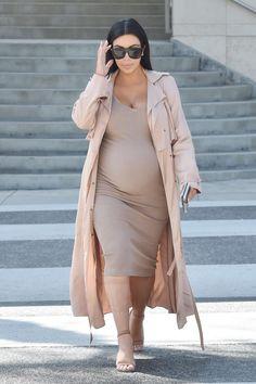 Kim Kardashian wearing  Saint Laurent SL 1/S Sunglasses, Lanvin Wrap Front Pique Coat, Alexander Wang Antonia Leather Sandals