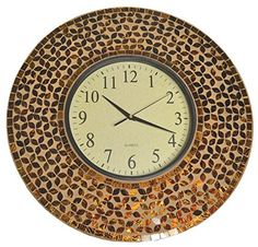 Lulu Decor 19 inch Amber Flower Mosaic Wall Clock LP74 -- You can find more details by visiting the image link.