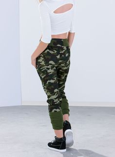 First In Command Banded Camo Joggers GREEN BLACK - GoJane.com
